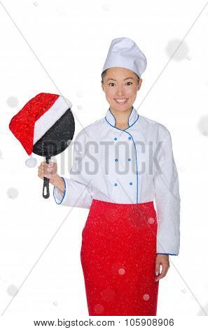 Asian Chef With Frying Pan And Christmas Hat