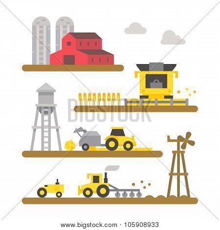Farm Land Machineries Flat Design