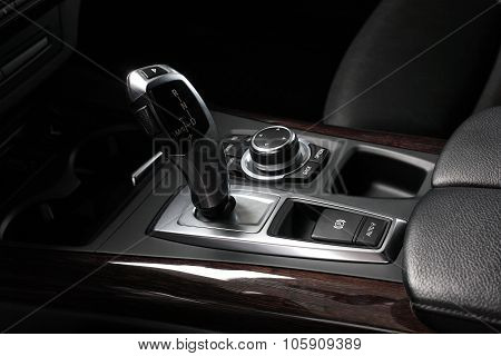 Car Interior. Gear Shifting Lever - Gearshift