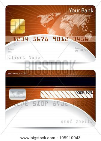 Credit Card Template With Bursting World Map