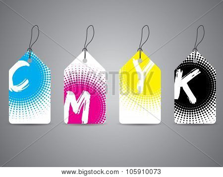 Cmyk Labels With Painted Text In Halftones