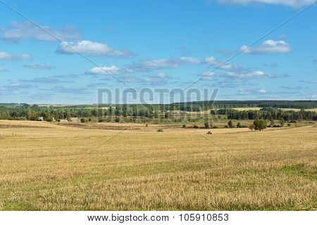 Natural Meadows Under Summertime Cloudy Sky In Poland