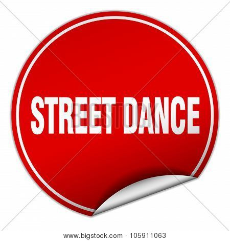 Street Dance Round Red Sticker Isolated On White