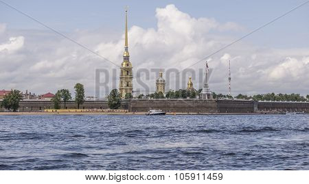 View Of The Peter And Paul Fortress With A Excursion Boat, St.pe