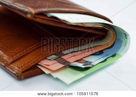 Brown Leather Wallet With Money Euro