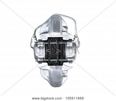 pads of mechanical car brake system isolated on white background