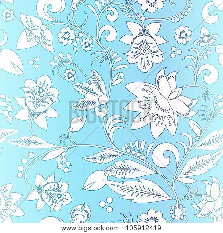 Stock Vector Orient  White Flower On The Blue Background . Seamless Pattern