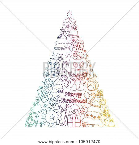 Stock Vector Isolated Christmas Tree With Cat, Gift, Sweet, Snowflakes. Template