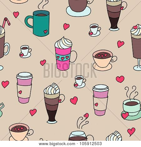 Coffee Cups Colorful Cute Seamless Pattern