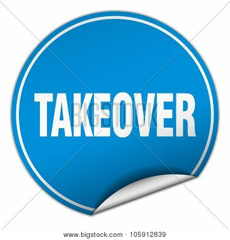 Takeover Round Blue Sticker Isolated On White