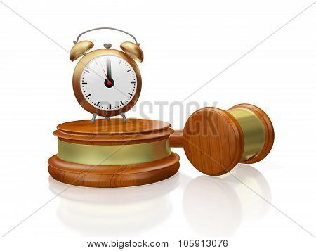 Judge Gavel Mallet And Antique Alarm Clock