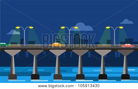 Modern bridge vector illustration city night view