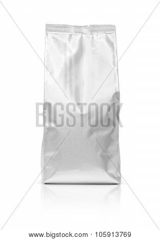 Blank Packaging Foil Pouch Isolated On White Background