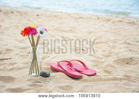 Flower And Red Old Slippers On The Beach Background