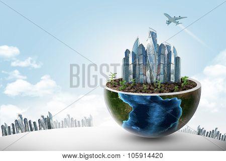 City in half earth