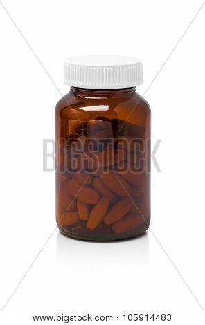 Brown Glass Bottle For Supplement Product Isolated On White Background