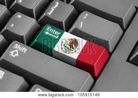 Enter Button With Mexico Flag