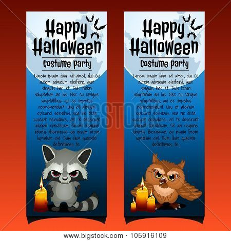 Two vertical cards with angry raccoon and owl