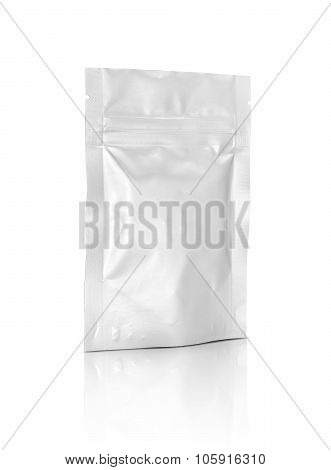 Blank Packaging Foil Zipper Pouch Isolated On White Background