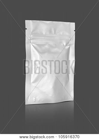 Blank Packaging Foil Zipper Pouch Isolated On Gray Background