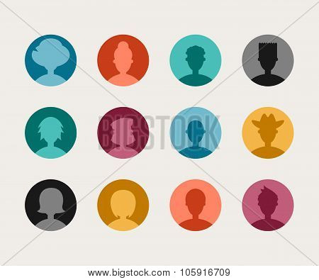 Set Of Colorful Flat Design People Avatar Icon Set.  Mens And Womens Silhouettes