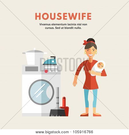 Flat Design Vector Illustration Of Housewife. Infographic Design Elements