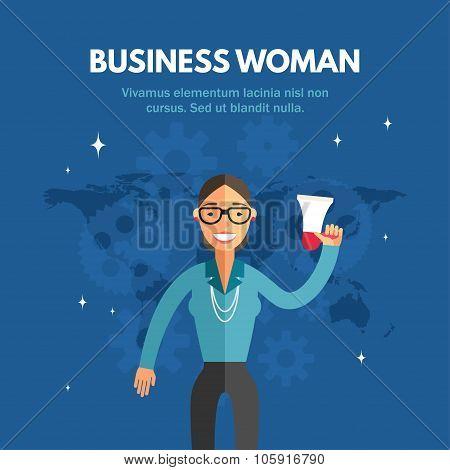 Flat Design Vector Illustration Of Busienss Woman. Infographic Design Elements