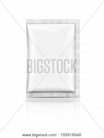 Blank Packaging Foil Sachet Isolated On White Background