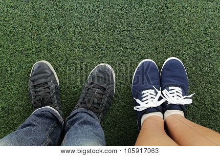 Canvas Sneakers On Grass