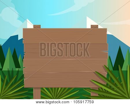 board sign wooden forest jungle background illustration vector tree mountain cartoon nature