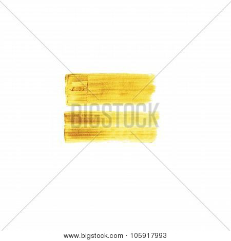 Abstract hand drawn gold background with two brush paint strokes