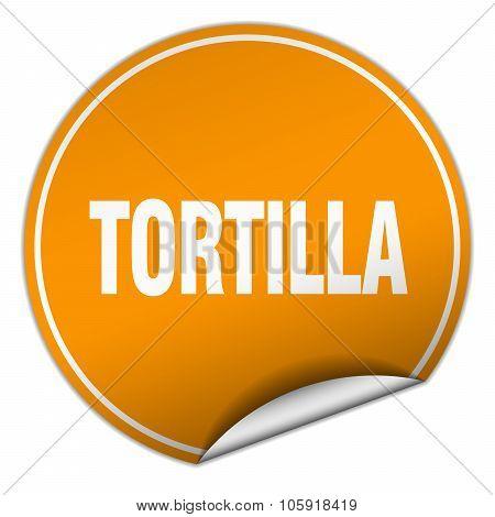 Tortilla Round Orange Sticker Isolated On White