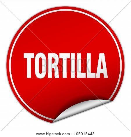 Tortilla Round Red Sticker Isolated On White