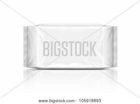 blank packaging paper wipes pouch isolated on white background
