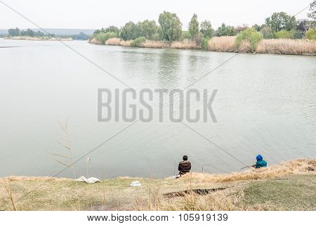 Anglers At Confluence Of The Gariep (orange) And Vaal Rivers
