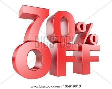 70 Percent Off 3D Icon.