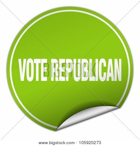 Vote Republican Round Green Sticker Isolated On White