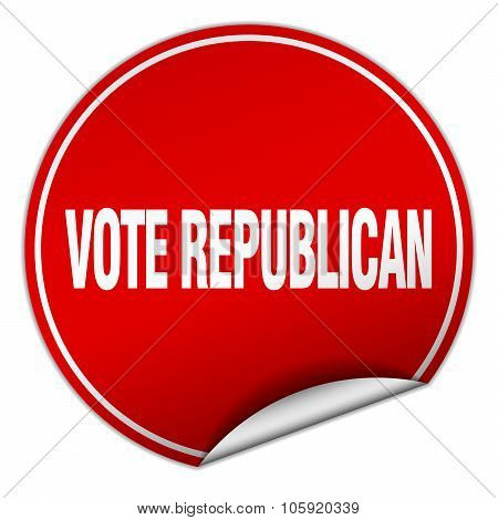 Vote Republican Round Red Sticker Isolated On White