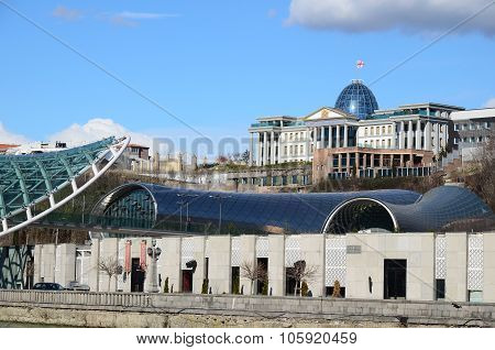 Tbilisi, georgia - March 05, 2015: Modern high-tech building of President Residence and new Theatre