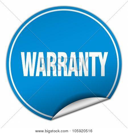 Warranty Round Blue Sticker Isolated On White