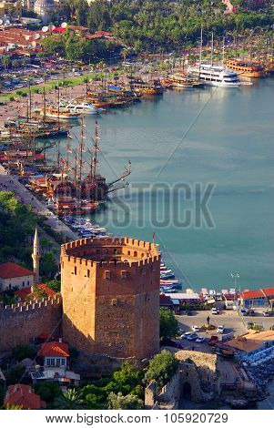 Red Tower Named K?z?l Kule In Alanya