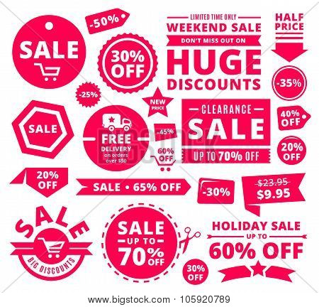 Modern Discount Sale Tags, Badges And Ribbons