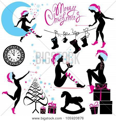 Set Of Christmas Silhouette Fairy Girls With Gifts, Presents, Snow Flakes And Stars Isolated On Whit