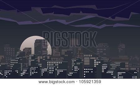 Illustration Of Big City At Night.