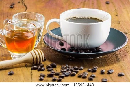 A Cup Of Coffee With The Honey, Warm Toning, Selective Focus