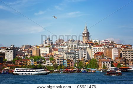 View Of The Passage The Gold Horn, Beyoglu's Region, Galata Tower And A Seagul Flying In The Blue Sk