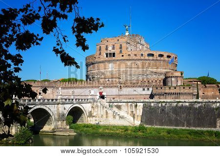Bridge Through Tiber And Castle San Angelo In Summer Day, Rome, Italy
