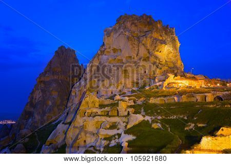 Fortress On The Rock In The Town Of Uchisar In  Night, Cappadocia, Turkey