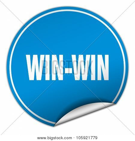Win-win Round Blue Sticker Isolated On White