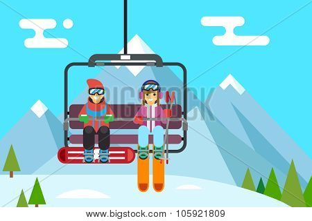 Ski resort holidays skier and snowboarder go up mountain funicular flat design vector illustration